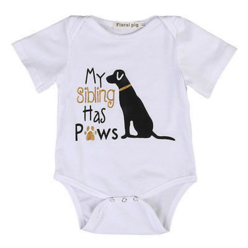 Cotton Toddler Infant Baby Boys Girls Short Sleeve Cute Dog Romper Jumpsuit Clothes Outfits