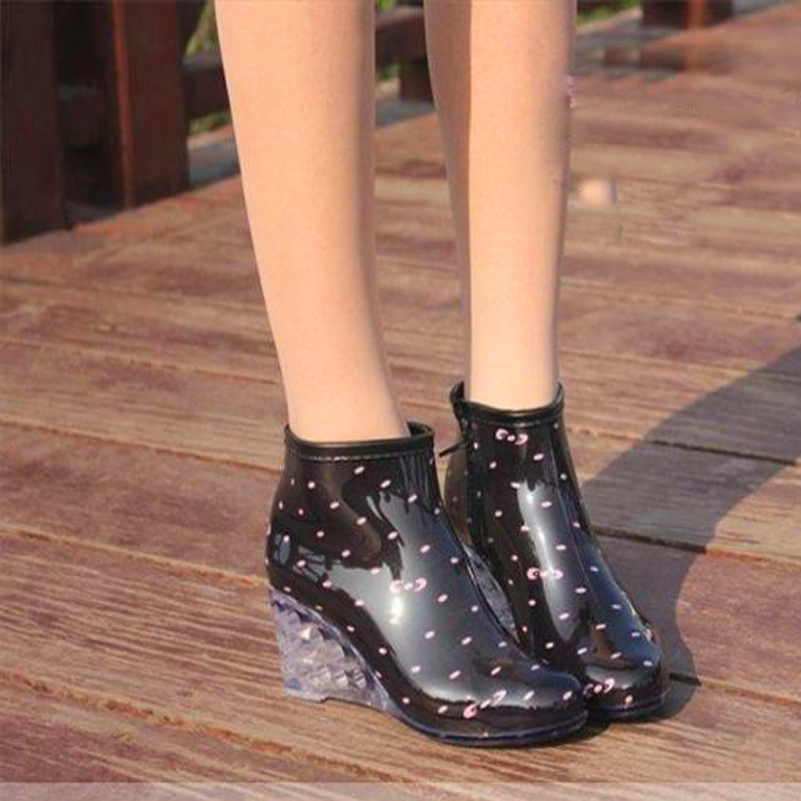 2017 Women Sweet Sexy Ladies Wedges Shoes Woman Platform Ankle Spring Summer Rain Boots Casual Women's Shoes High-heeled Zapatos phyanic 2017 gladiator sandals gold silver shoes woman summer platform wedges glitters creepers casual women shoes phy3323
