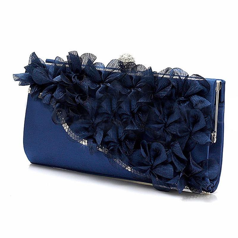 Dame Satin pochette fleur soirée fête mariage sac à main chaîne épaule sac à main