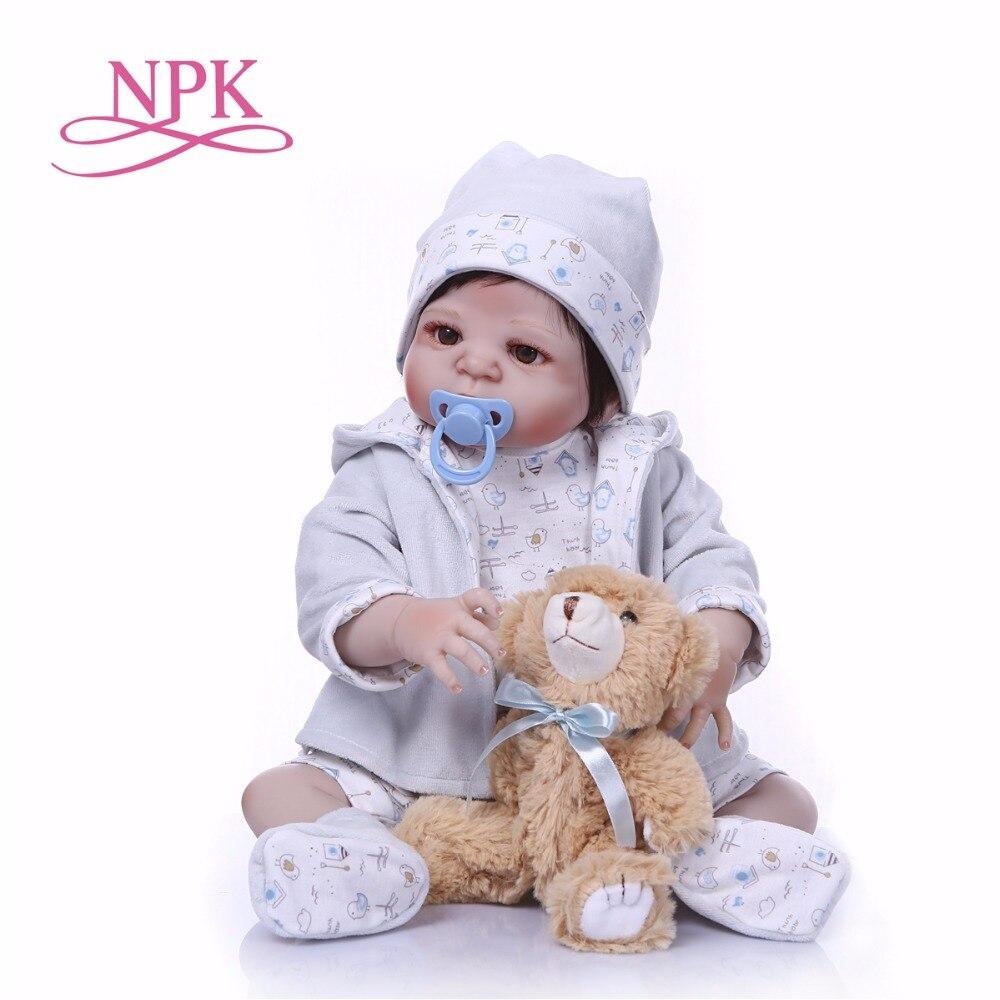 NPK nueva llegada bebé niño Reborn muñecas de juguete de vinilo de silicona completo 22'cm de la vida Real Bebes Reborn vivo muñeca juguetes calientes para niño oso-in Muñecas from Juguetes y pasatiempos    1
