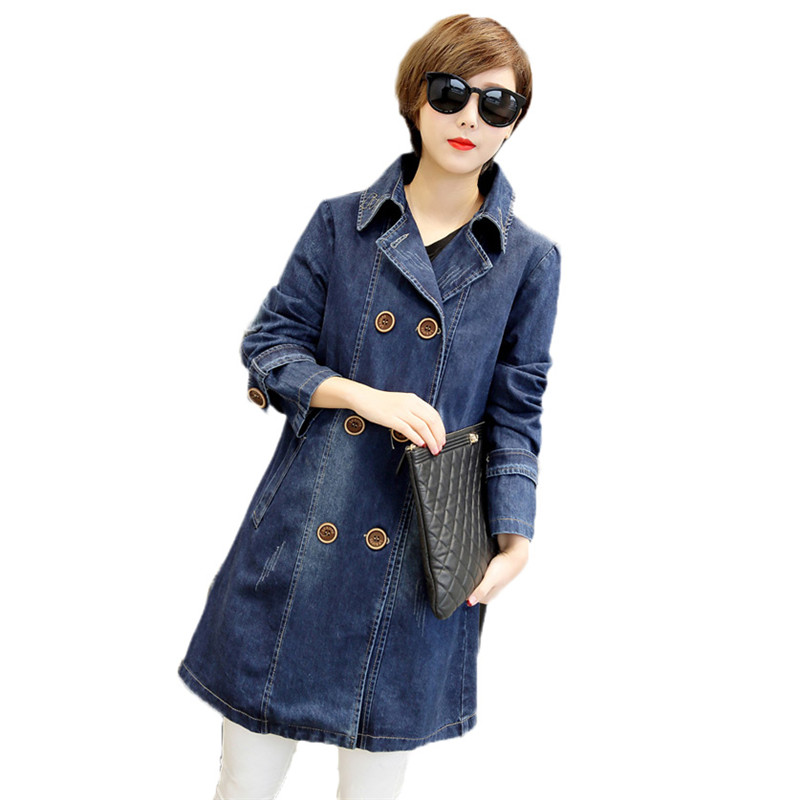 2019 Double-Breasted Women   Trench   Coat New Long Denim Coat Spring Autumn Wild Large Size Loose Long-Sleeved Denim Outwear JIA98
