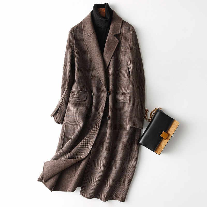 AYUNSUE/осенне-зимнее пальто для женщин в английском стиле, клетчатое пальто из натуральной шерсти, женские длинные куртки, верхняя одежда manteau femme 37121 WYQ1183