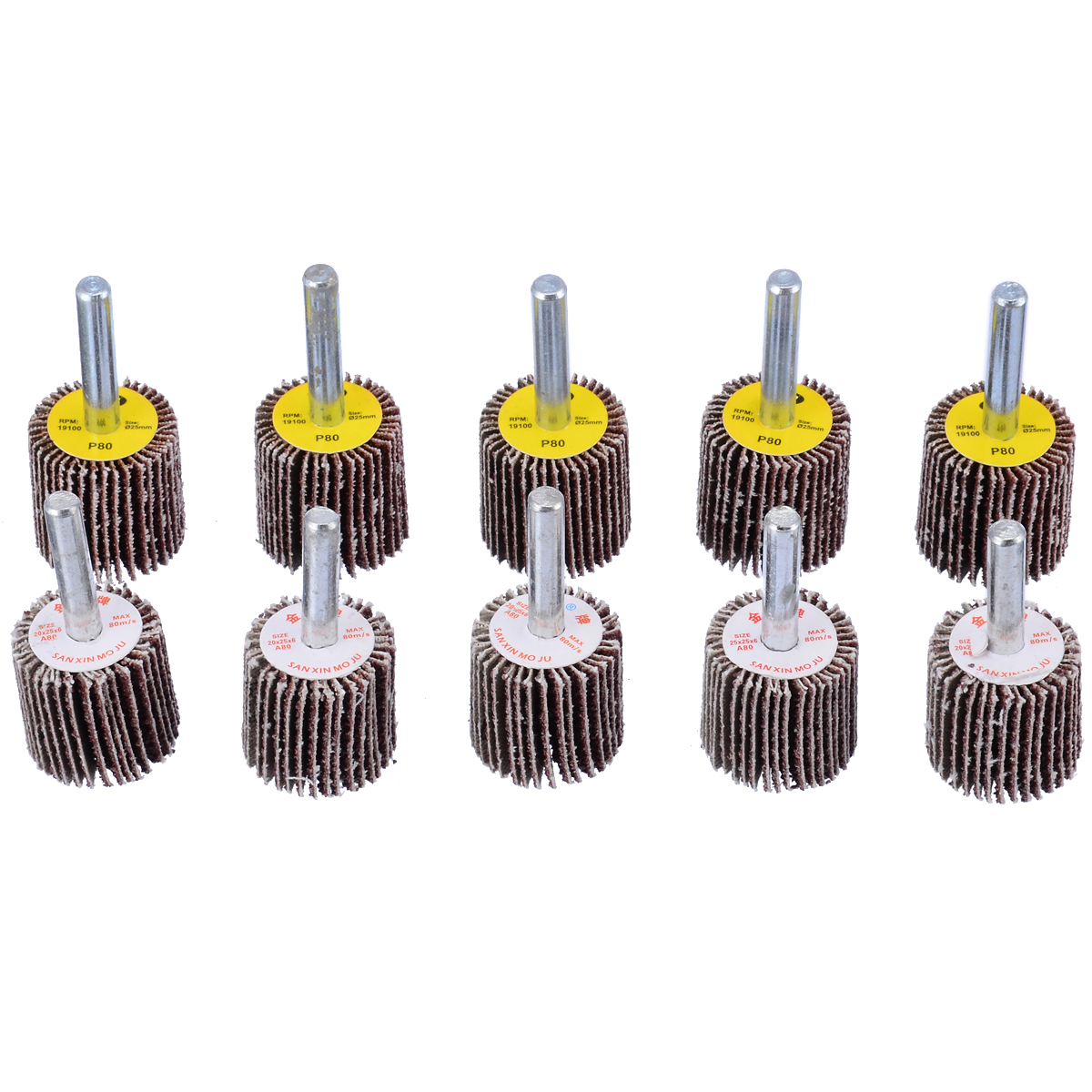 10pcs 50mm Grinding Polish Wheel 40/80 Grit Sanding Flap Disc Drill Abrasive Tool For Stainless Steel Pipe