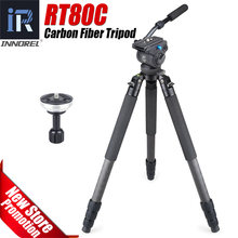 RT80C Professional carbon fiber tripod for DSLR camera video camcorder Heavy duty birdwatching camera stand bowl tripod 20kg max(China)