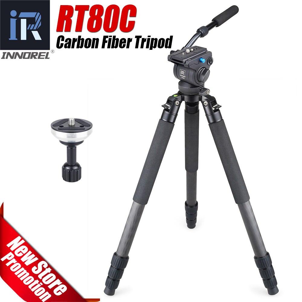 RT80C Professionnel trépied en fiber de carbone pour DSLR caméra vidéo caméscope robuste oiseaux caméra support bol trépied 20 kg max