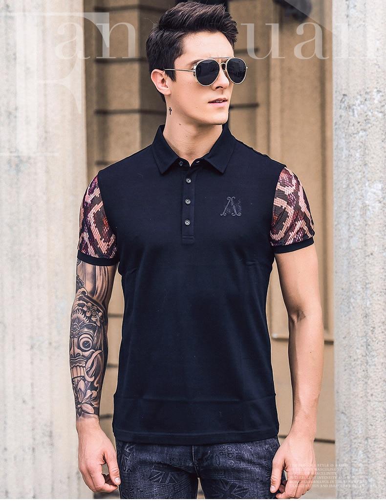 dfd084ea266ee FANZHUAN Ücretsiz Kargo Yeni Erkek Erkek moda 2019 RAHAT yaz hipster eğilim  POLO GÖMLEK nakış mektup desen erkekler 925023