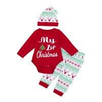 3PCS Xmas Infant Unisex Baby Boy Girl Romper Pants Hat Christmas Outfits Cotton Blend Set Clothes