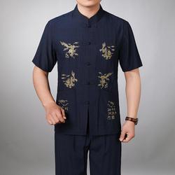 Китайский Стиль Для мужчин хлопок кунг-фу костюм вышивка Ву Шу равномерное тай-чи Костюмы футболка с коротким рукавом + брюки M, L, XL XXL, XXXL
