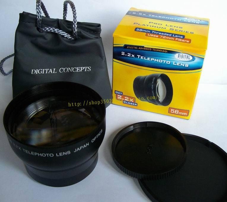 2,2x58mm teleobjetivo tele lente 58mm canon nikon DSLR/SLR cámara Digital