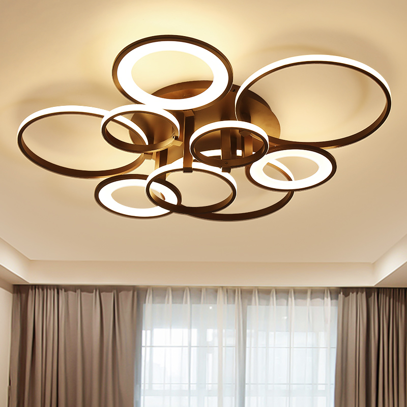 LICAN Modern Aluminum Wave Ceiling lights LED lamp for Living room Bedroom luminaire White Black Circle Ring Modern Ceiling Lamp 5 circle ring modern fashion floor living room led ceiling lights creative villa long circular staircase lights luxury lamp