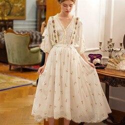 Женская элегантная винтажная юбка с цветочной вышивкой Mori Girl, универсальная Повседневная Съемная подвязка, весна-лето
