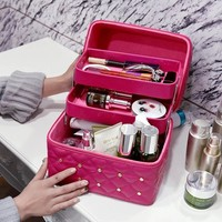 New Women Large Capacity Professional Makeup Organizer Travel Toiletry Cosmetic Bag Make Up Storage Box Portable Pretty Suitcase