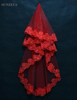 Czerwony biały kości słoniowej krótkie welony ślubne dla panny młodej tanie Bridal akcesoria na sprzedaż muzułmańskie małżeństwo tanie koronki dla nowożeńców welon S165 tanie i dobre opinie Bridal welony WOMEN Poliester Appliqued Dla dorosłych Jedna warstwa Róż Welon Sunzeus Koronki krawędzi