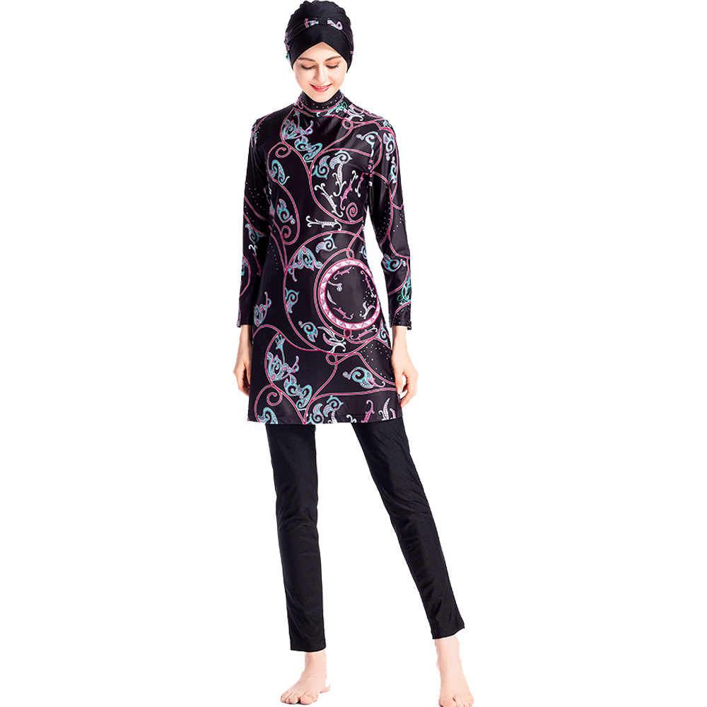 9ff54287dd ... Muslim Swimwear Islamic Women Modest Hijab Plus Size Burkinis Wear  Swimming Bathing Suit Beach Full Coverage ...