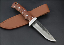 Handmade Melaleuca steel Browning red wood handles outdoor hunting knives camping Straight knife saber + leather knife sheath