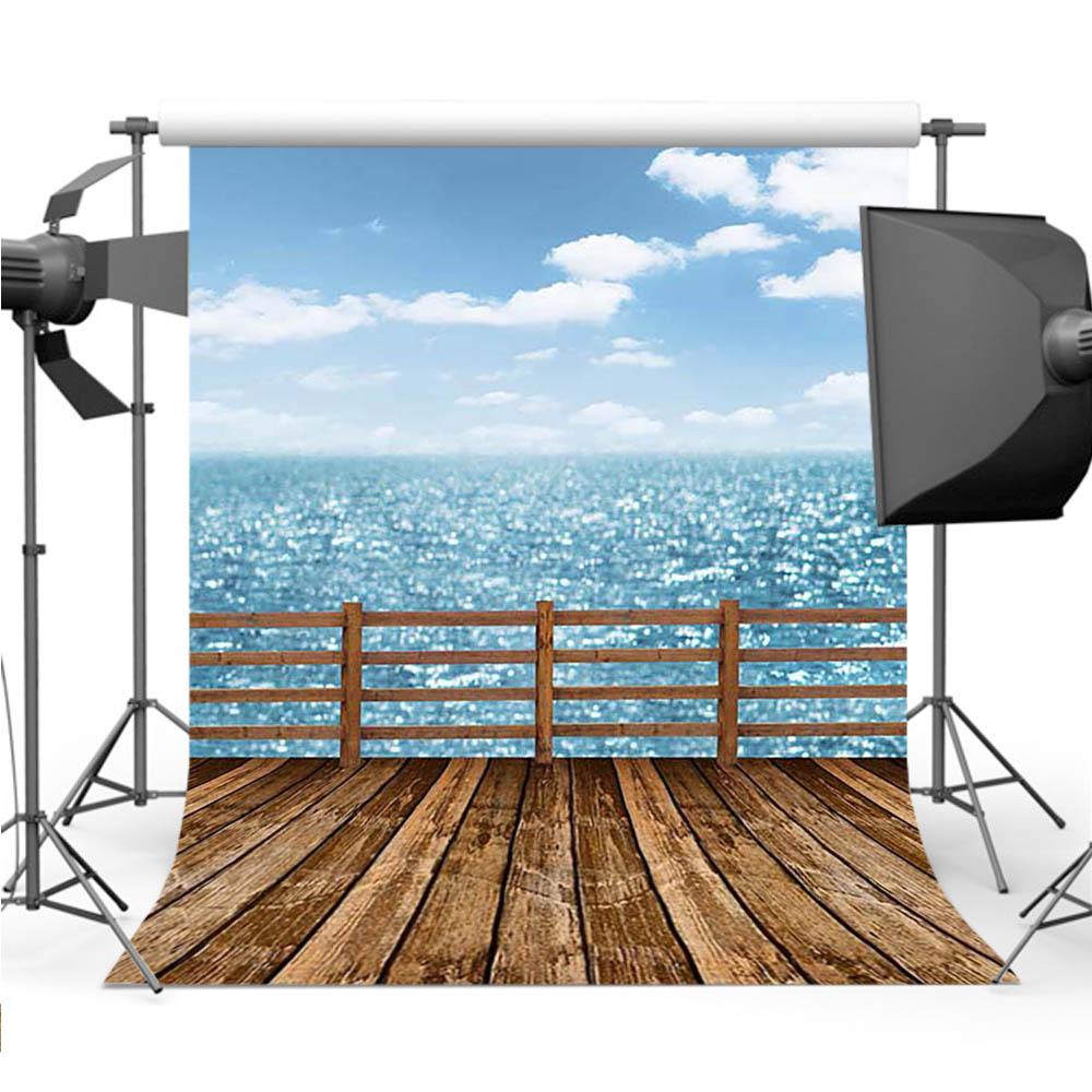 cruise ship deck sea ocean wood floor photography backgrounds Vinyl cloth High quality C ...