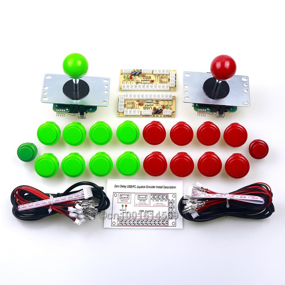 Arcade Control Panel Sanwa DIY Kits Bundle Sanwa Button + Reyann Start Button + USB Encoder + Sanwa Joystick Cable - Green + Red new mini arcade machines diy kits parts zero delay encoder circuit board