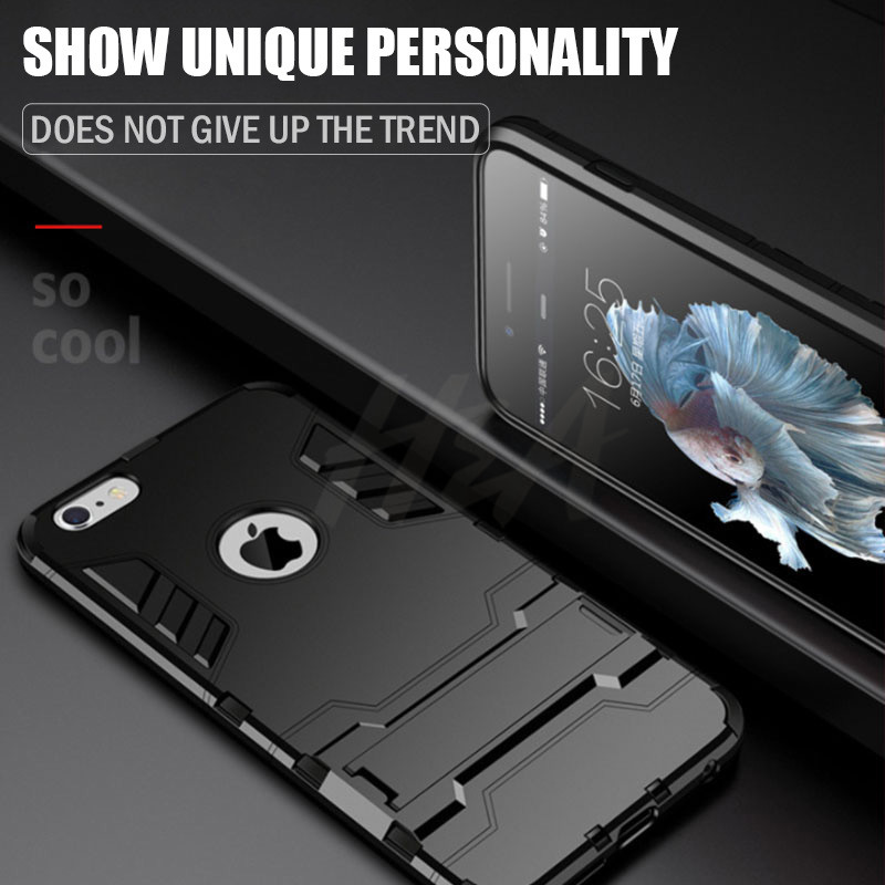Shockproof Armor Phone Case For iPhone X 5 5s 6 8 7 Plus TPU + PC Protective Case 5