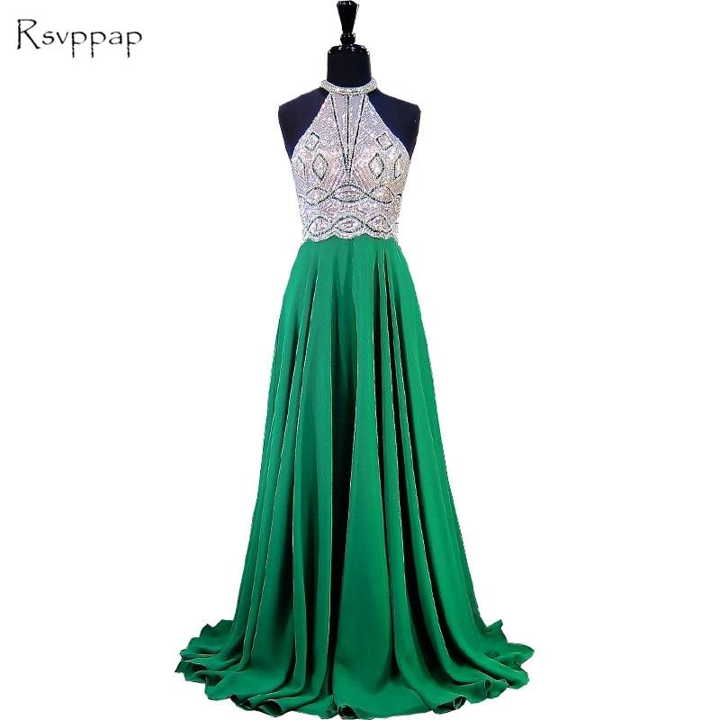 Long Emerald Green Evening Dress 2018 A-line Scoop Sleeveless Beaded ...