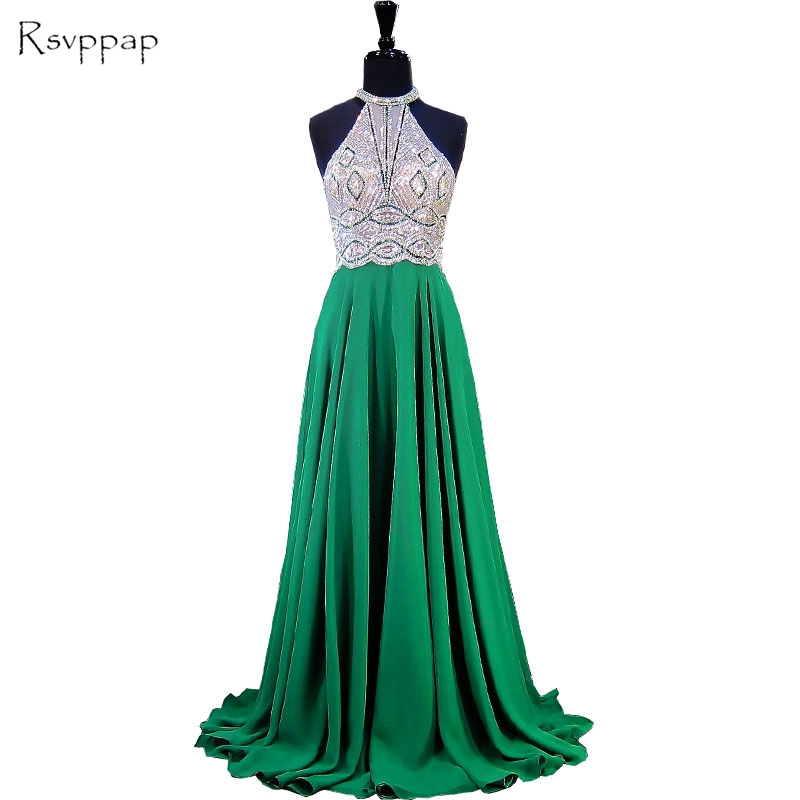 Long Emerald Green Evening Dress 2017 A-line Scoop Sleeveless Beaded Floor Length Chiffon Women Formal Evening Gowns