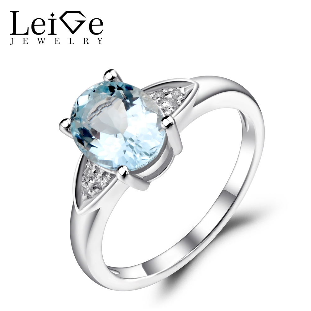 Leige Jewelry Natural Aquamarine Ring Blue Gemstone Oval Shaped Wedding Engagement Rings for Women Sterling Silver 925 Jewelry