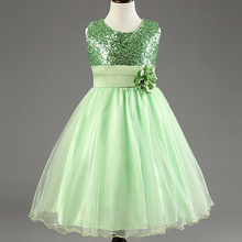 Princess girls dresses flower belt solid sequined dress christmas toddler teen age size 2t 3t 4 5 6 7 8 9 10 11 12 13 14 years