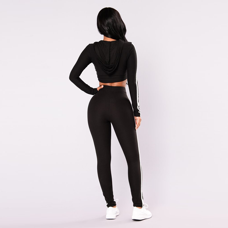 Women Pink Black Striped Long Sleeve Hoodies Cropped Tops and Elastic Waist Skinny Pant Pantsuits Casual Sweatshirt Clothing Set