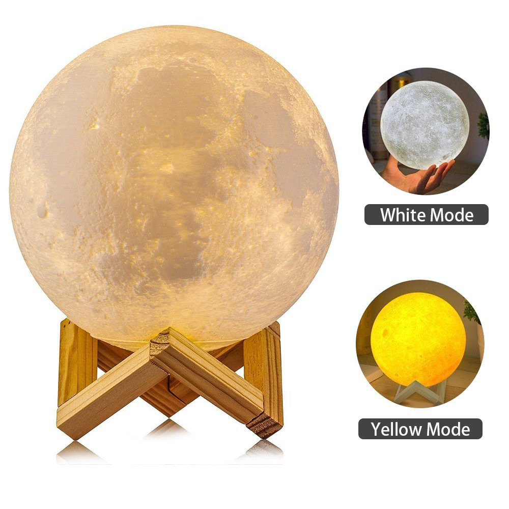 8-20cm Magical 3D Printing Moon Lamp 2 Colors Change USB Rechargeable Touch Control Brightness LED Night Lights Home Decor Kids rechargeable moon lamp 8 20cm dia 3d