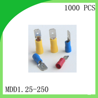Good Quailty Brass 1000 PCS MDD1 25 250 Cold Pressure Terminal Male Pre Insulated Electrical Crimp