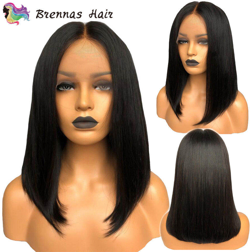 short bob wigs preplucked and bleached knots bob wig lace front human hair wigs black women