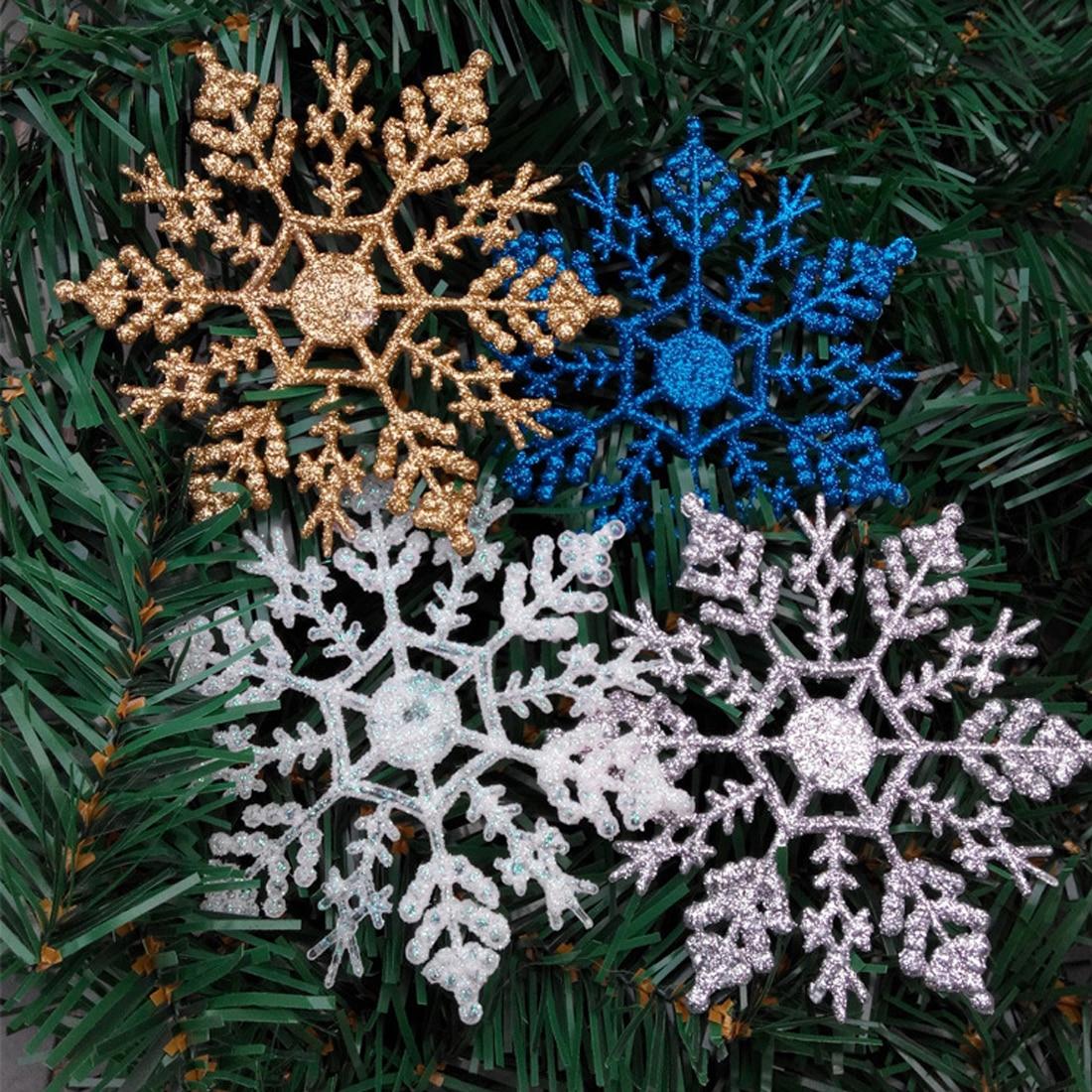 12pcs 10cm gold powder snowflake for xmas charming white christmas tree decor xmas party holiday christmas - Christmas Tree Decorations Gold And Blue
