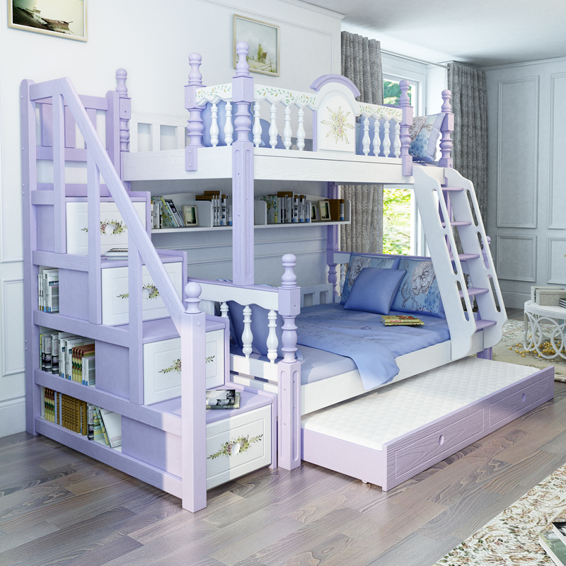 US $2307.0  modern bedroom furniture white purple solid wood bunk bed for  children-in Bedroom Sets from Furniture on AliExpress