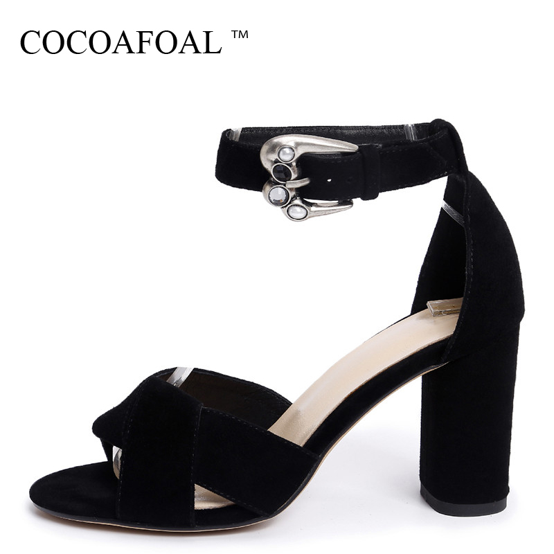 COCOAFOAL Women Crystal Sandals Fashion Shallow Sheepskin Wedding Heel Height Shoes Sexy Genuine Leather Black Blue Sandals 2018 cocoafoal woamn patent leather sandals fashion heel height black white wedding shoes sexy genuine leather pointed toe sandals