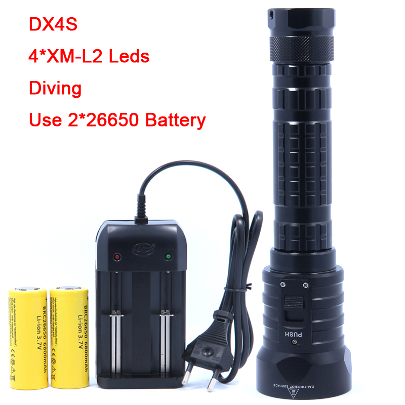 DX4S LED Diving Flashlight 4x CREE L2 4L2 Underwater 18650 26650 Torch Brightness Waterproof 100m Light Led Torch scuba diving flashlight dx4s underwater hunting torch waterproof dive lamp 4x cree xm l2 white light 18650 26650 led torch