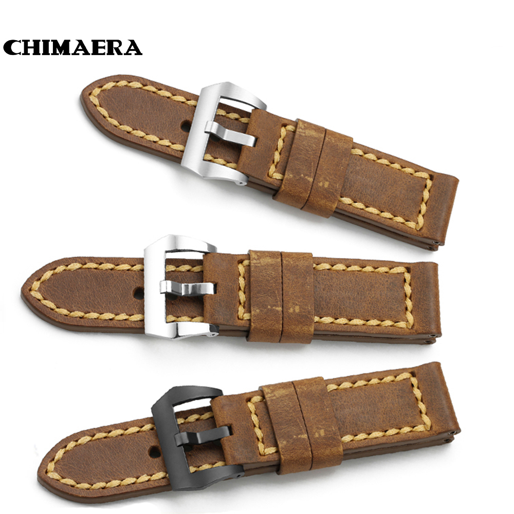24 mm Watch Band Handmade Genuine Italy Calf Leather Vintage Watch Strap Steel Tang Buckle Watchband Men's Belt for PANERAI 44MM genuine leather watchband for longines men leather watch strap for women metal buckle watch band belt retro watch clock band