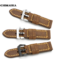 24 mm Watch Band Handmade Genuine Italy Calf Leather Vintage Watch Strap Steel Tang Buckle Watchband Men's Belt for PANERAI 44MM