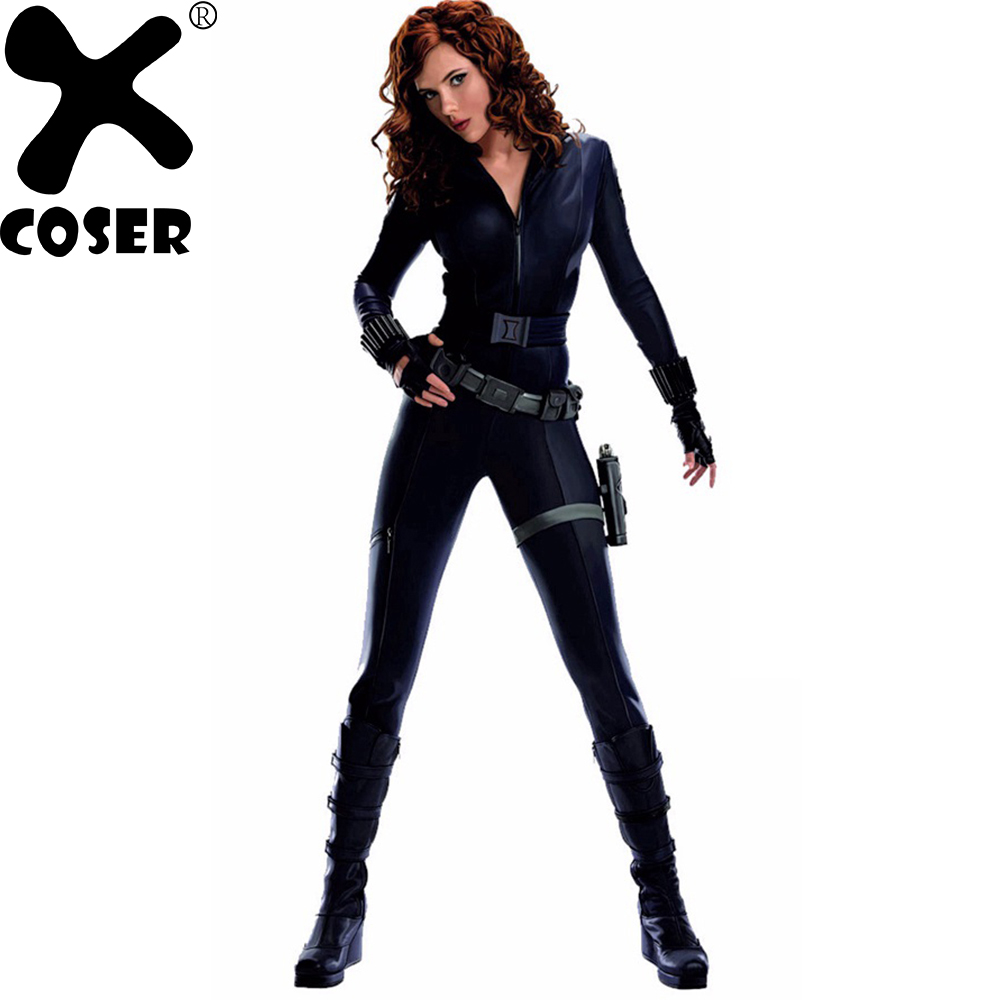 XCOSER Hot Movie Captain America 2 Black Widow Cosplay Costume Women Cool Jumpsuits Bodysuit + Belt + Bag + Gloves + Bracers Set movie captain america the winter soldier black widow cosplay costume custom made any size