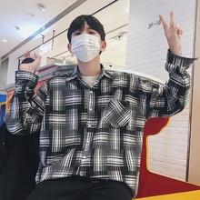 Hong Kong Style Plaid Turn Down Collar Long Sleeve Tide Male Shirt 2018 Autumn New Arrivel Warm Cotton Loose Men Camisa M-2XL