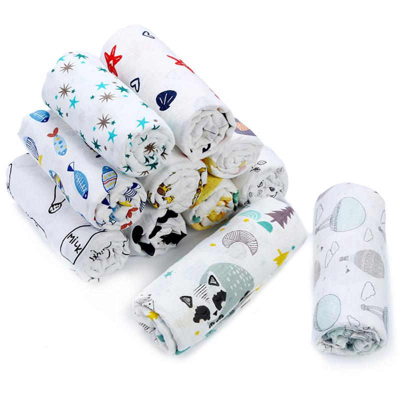 2pcs/set Newborn Baby Blanket 100% Cotton Bamboo Blanket Cartoon Patterns Multi-use Infant Towel Baby Muslin Swaddle Wrap