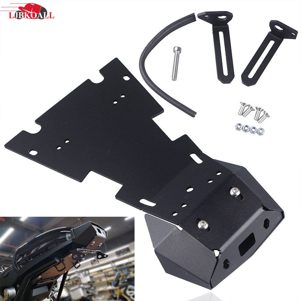 LJBKOALL Motorcycle Black Tail Light Tidy Rear Mount License Plate Bracket Brake Support for BMW R Nine T R9T 2015 2016 2017 aftermarket free shipping motorcycle parts black curve license plate tail brake light fit for side mounted