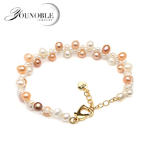 Fashion beautiful natural freshwater bracelet pearl female,trendy multilayer double