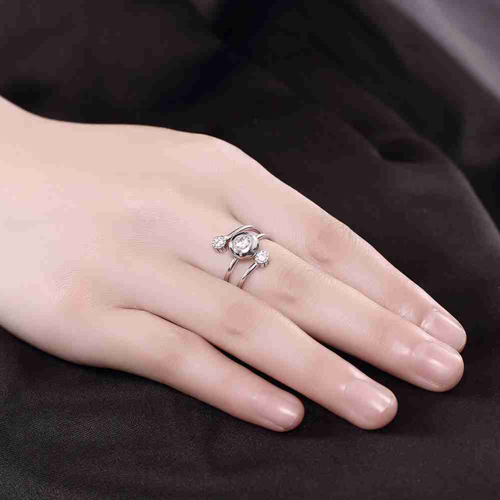Free Shipping 2016 Lovely 100% Pure 925 Sterling Silver rings Three ...