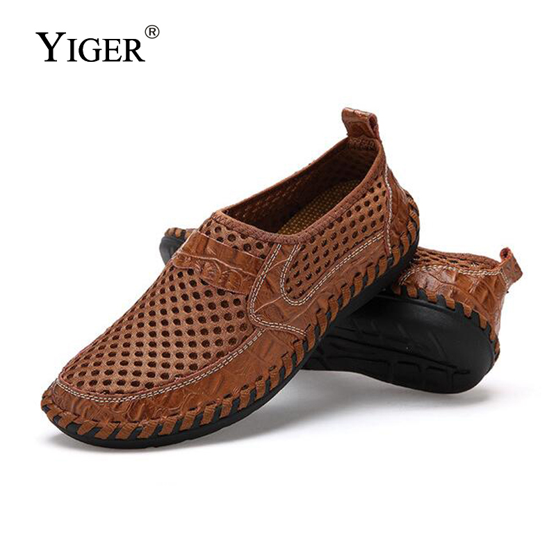 YIGER New Men Net Shoes Genuine Leather Summer Casual Men Sandals Men Loafers shoes Lazy Style