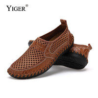 YIGER New Men Net Shoes Genuine Leather Summer Casual Men Sandals Men Loafers shoes Lazy Style Breathable Large Size 38 48 0060