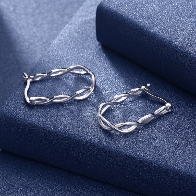 ENDELI 2018 Fashion jewelry European 925 Silver Earrings Female Crystal from Swarovski Simple Vintage openwork braided earrings