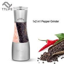 TTLIFE 2 in1 Edelstahl Pfeffermühle Erweiterte Salzstreuer Salz Pfeffer Gewürzmühle Spice Vanille Kochen Werkzeuge