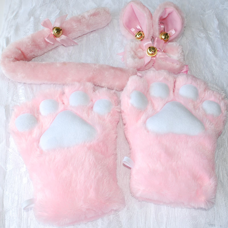 1Set-New-Anime-Cosplay-Costume-Sweet-Cat-Ears-Plush-Paw-Claw-Gloves-Tail-Bow-tie-Halloween (4)