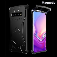 Luxury Magnetic Metal Frame Phone Case For Samsung Galaxy S10 Plus S10E Bumper Shockproof Protective Cover For Samsung Note 9 protective plastic bumper frame for samsung galaxy note 3 pink transparent