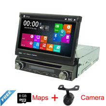 "Top Free Shipping 7"" Single Din Wince Car DVD Multimedia Radio For Universal With Audio GPS Map Bluetooth Reverse Camera"