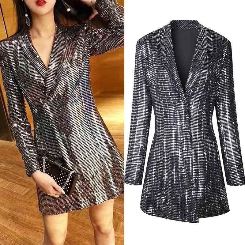 2018 Autumn New Women Bling Sequined Party Midi Blazer Dress Elegant Slim  Fit Lapel Collar Office 8e2cb402526a